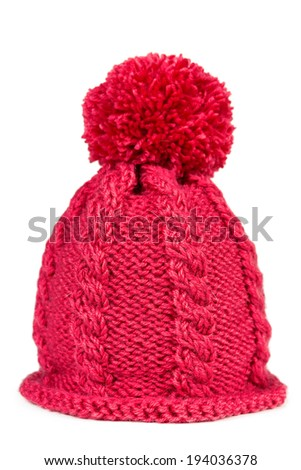 Knitted hat with a pompon isolated on white background - stock photo