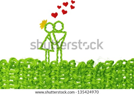 Knitted kiss and flying hearts. Love expression concept , infant simplicity design with text space. - stock photo