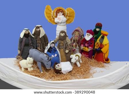 Knitted Nativity - stock photo