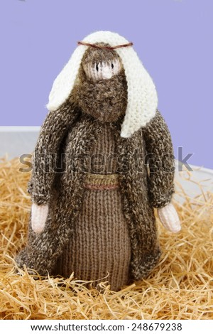 knitted nativity shepherd, Joseph or biblical figure - stock photo