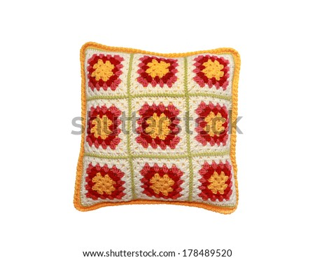 knitted pillow on  white background  - stock photo