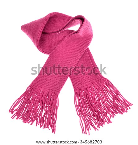 knitted pink scarf with fringe on white background