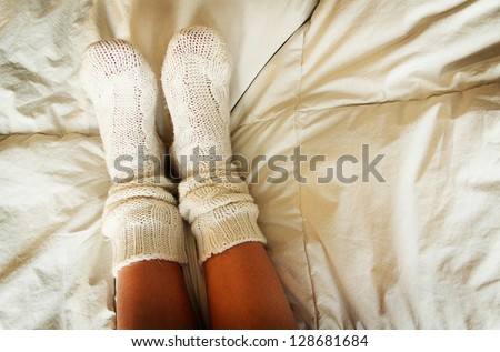 Knitted socks - stock photo