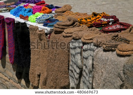Knitted socks and slippers, Uzbekistan