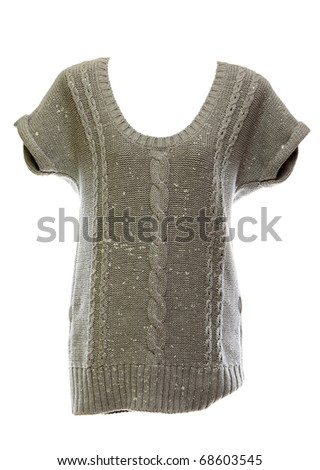 Knitted woman's dress isolated on white background - stock photo
