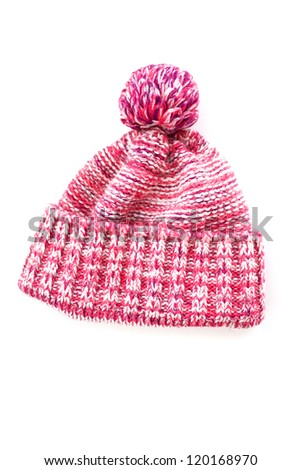 knitted wool hat isolated - stock photo