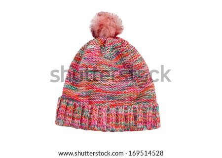 Knitted wool hat isolated on white - stock photo