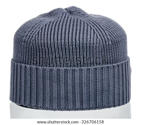 knitted wool hat with isolated on white background