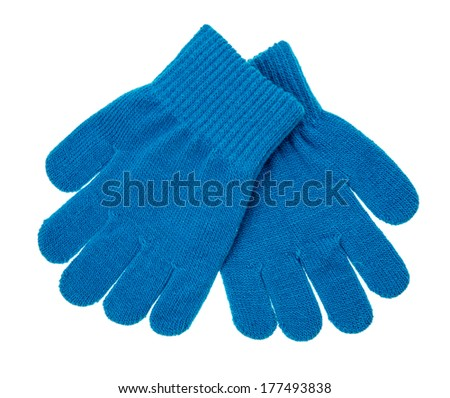 knitted woolen baby gloves, on white - stock photo