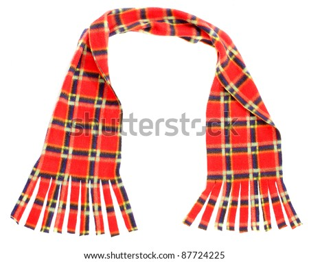 Knitted woollen scarf for cold weather isolated on white background. Homemade product. - stock photo