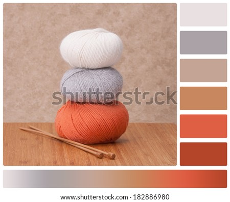 Knitting Accessories. Yarn Balls. Palette With Complimentary Colour Swatches - stock photo