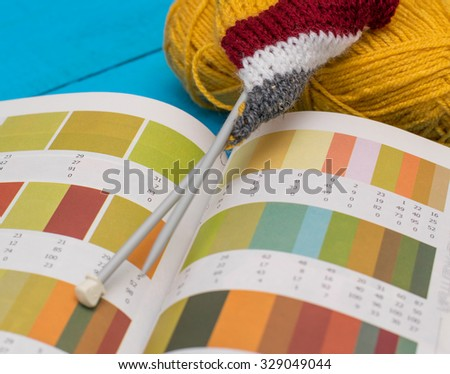 knitting and a book with shades on wooden table