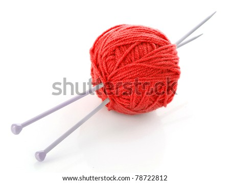 knitting needles and wool ball isolated on white - stock photo