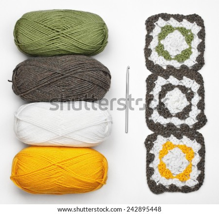 Knitting pattern, crochet and color yarn - stock photo