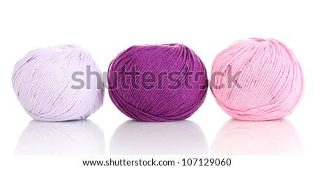 Knitting yarn isolated on white - stock photo
