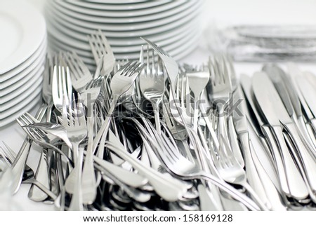 knives and forks, crockery restaurant - stock photo