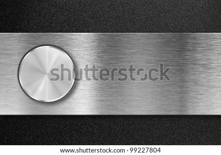 knob button on metal aluminum plate - stock photo