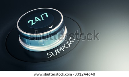 knob with 24/7 text. Arrow pointing to the word: support (3d render) - stock photo