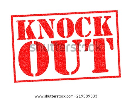 KNOCK OUT red Rubber Stamp over a white background.