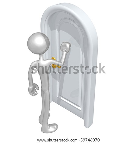 Knocking On A Door - stock photo