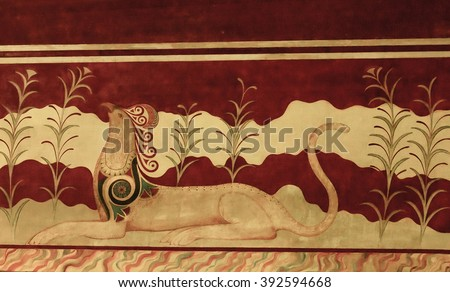 Knossos, Greece - May 12,2007: Griffin couchant, Fresco of Minoan Palace representing a stylized animal, Knossos, Greece - stock photo