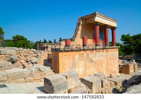 Knossos palace at Crete, Greece Knossos Palace, is the largest Bronze Age archaeological site on Crete and the ceremonial and political centre of the Minoan civilization and culture