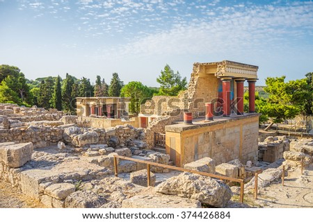 Knossos Palace ruin in sunny day, Crete, Greece. - stock photo