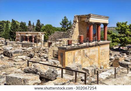 Knossos Palace ruins. Heraklion, Crete, Greece. - stock photo