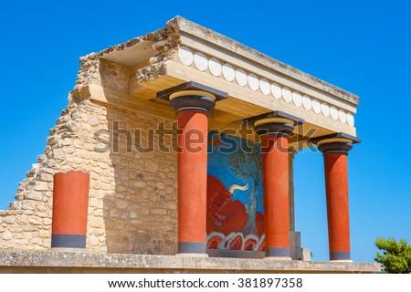 Knossos Palace ruins. Heraklion, Crete, Greece - stock photo