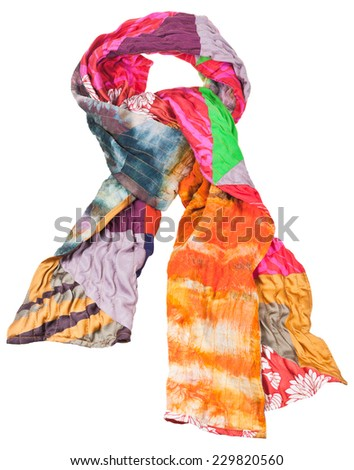 knot from patchwork and batik silk scarf isolated on white background - stock photo