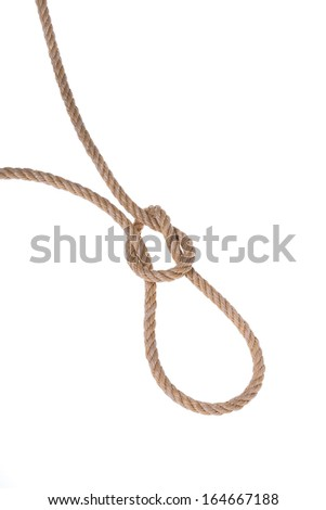 Knot is tied by a rope.