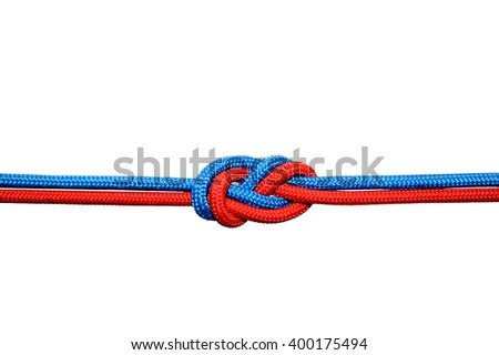 Knot on a cord on a white background - stock photo