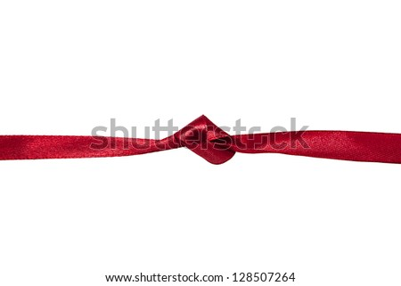 Knot on a red ribbon isolated on white background