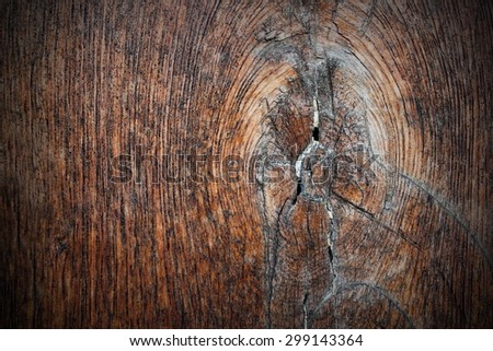knot on ancient oak plank, texture for your design ( Quercus robur ) - stock photo