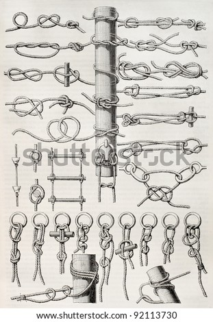 Knot table old illustration. Created by Thiollet, published on Magasin Pittoresque, Paris, 1845 - stock photo
