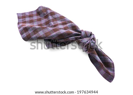 Knotted purple squared handkerchief on white background - stock photo