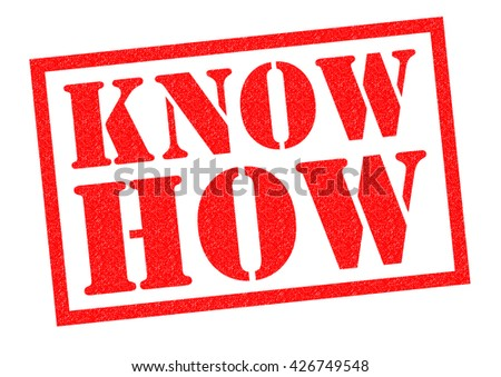 KNOW HOW red Rubber Stamp over a white background.