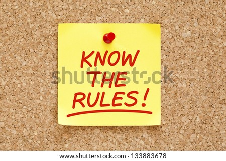 Know The Rules written on yellow sticky note with red marker. - stock photo