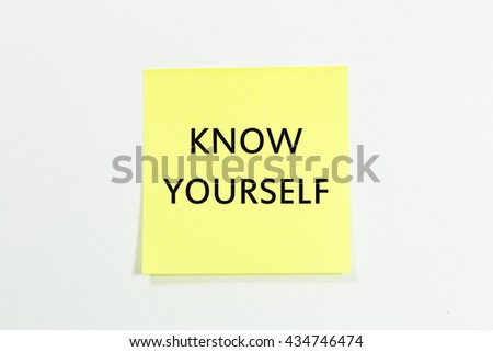 Know yourself written on sticky notes. isolated on white