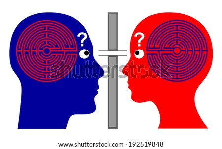 Knowing each other? How to communicate successfully with one another since we do not know much about our own brain labyrinth?  - stock photo
