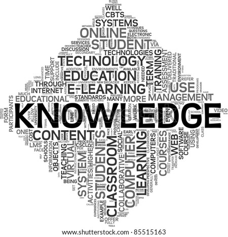 Knowledge and e-learning concept in tag cloud on white background - stock photo