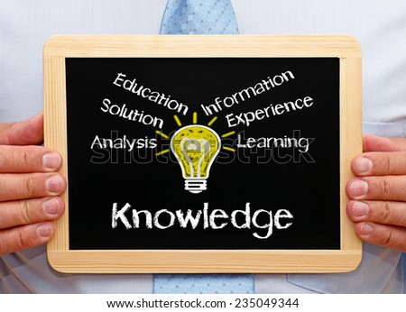 Knowledge - Business and Education - Businessman with chalkboard - stock photo