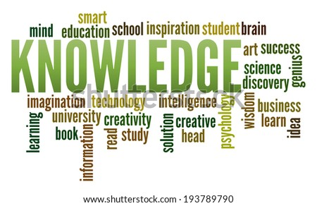 Knowledge  in word collage - stock photo