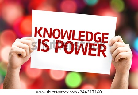 Knowledge is Power card with colorful background with defocused lights - stock photo
