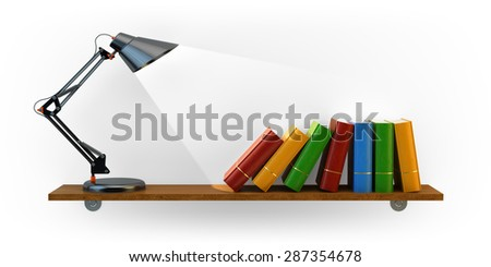 Knowledge is power, learning and study concept, desk lamp and books on bookshelf isolated on white background - stock photo