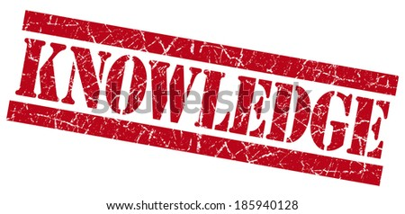 knowledge red square grunge textured stamp isolated on white - stock photo