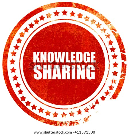 knowledge sharing, red grunge stamp on solid background - stock photo