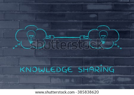 knowledge sharing: thought bubbles with lightbulb connected with a plug - stock photo