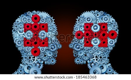 Knowledge team concept as a group of people made of connected gears and cogs with jigsaw pieces inside their heads as a metaphor for making a connection to teach and lead in partnership. - stock photo