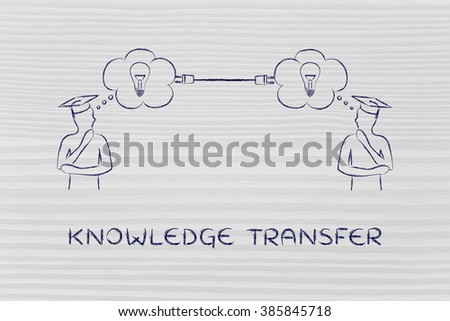knowledge transfer: people with thought bubbles connected with a plug - stock photo
